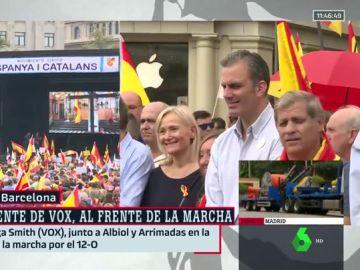 Representantes de PP, Ciudadanos y VOX encabezan la manifestación de Sociedad Civil Catalana en favor del 12 de Octubre