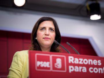 La portavoz del Comité Electoral del PSOE, Esther Peña, durante la rueda de prensa