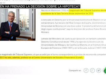 El juez que frenó la sentencia sobre los impuestos hipotecarios fue profesor en una escuela de la banca española