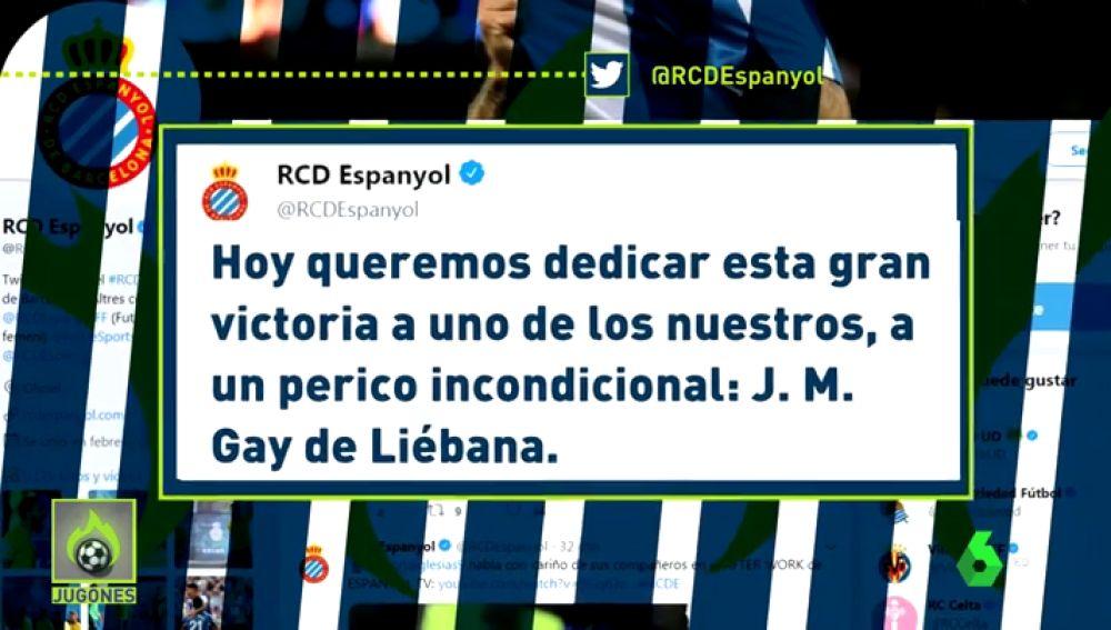 El Espanyol dedicó su victoria a Gay de Liébana