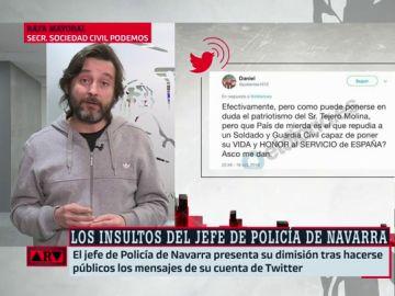 """Rafael Mayoral, de los insultos del exjefe de policía en Navarra: """"Es importante la democracia en las fuerzas y cuerpos de Seguridad del Estado"""""""
