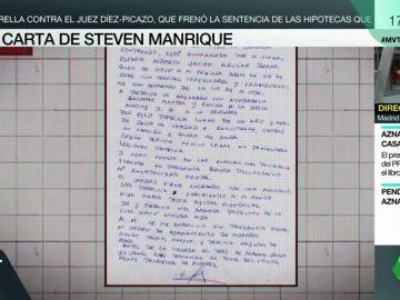 """Félix Steven Manrique se dirige en una carta a la familia de Patricia Aguilar: """"Ella está acorralada por mi suegro español"""""""