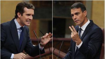 En la imagen, Pablo Casado, líder del PP, y Pedro Sánchez, presidente del Gobierno