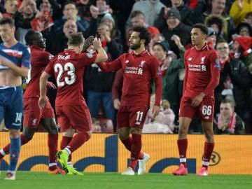 Shaqiri, Mané y Salah celebran un gol ante el Estrella Roja