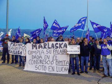 Los sindicatos representativos en Prisiones durante el piquete organizado en Soto del Real