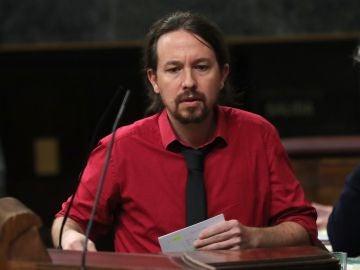 El presidente de Podemos, Pablo Iglesias, durante una intervención en el Congreso