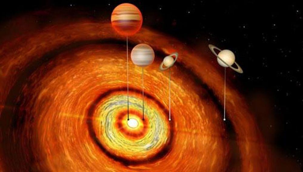 Descubren cuatro planetas gigantescos orbitando un extraño