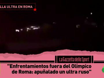 Así fue la batalla entre ultras de la Roma y el CSKA en los exteriores del Olímpico con un ultra ruso apuñalado