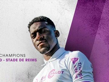 Homenaje del Stade de Reims al Real Madrid en su tercera equipación