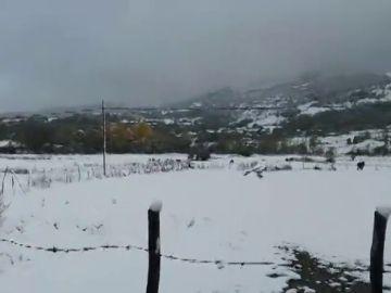 La nieve baja hasta los 600 metros de altitud y deja complicaciones en las carreteras de Cantabria