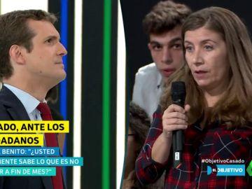 """La pregunta directa de una ciudadana a Pablo Casado: """"¿Usted sabe lo que es no llegar a final de mes?"""""""