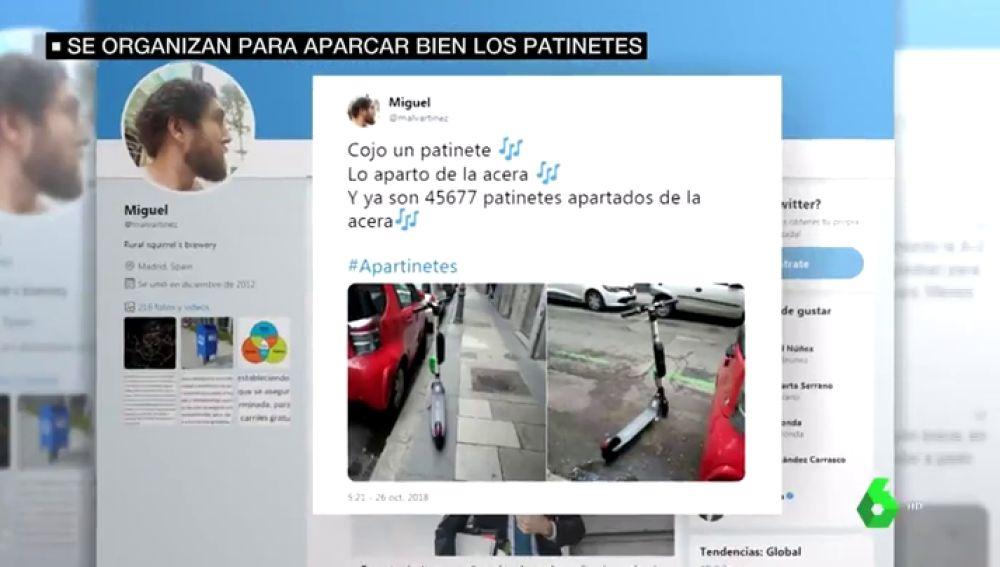 """Vecinos de Madrid impulsan una campaña para retirar los patinetes de las aceras: """"Hay que reivindicar la figura del peatón"""""""