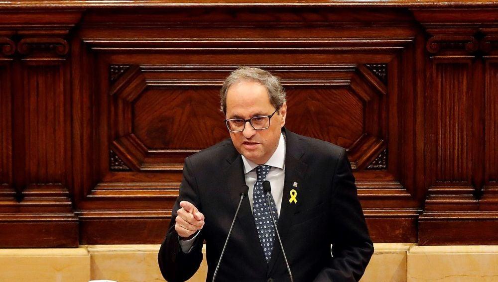 El presidente de la Generalitat, Quim Torra, durante su comparecencia a petición propia ante el pleno del Parlament