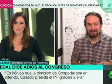 """Pablo Iglesias, tras la dimisión de Cospedal: """"Si Casado es presidente gracias a ella, está manchado hasta las trancas"""""""