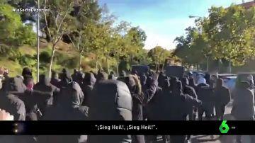 """Los Boixos Nois pasearon por Vallecas haciendo el saludo nazi: """"Si he de matar, que sea un perico de Sarriá"""""""