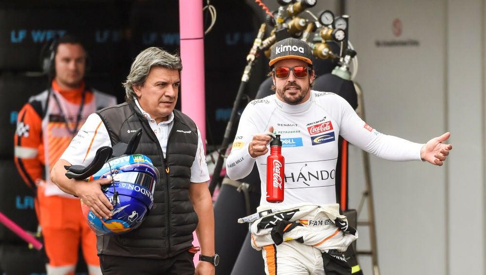 Fernando Alonso, durante el GP de México