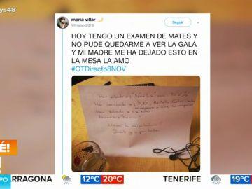 El tierno gesto de una madre a su hija tras perderse una gala de OT por estudiar que se ha hecho viral