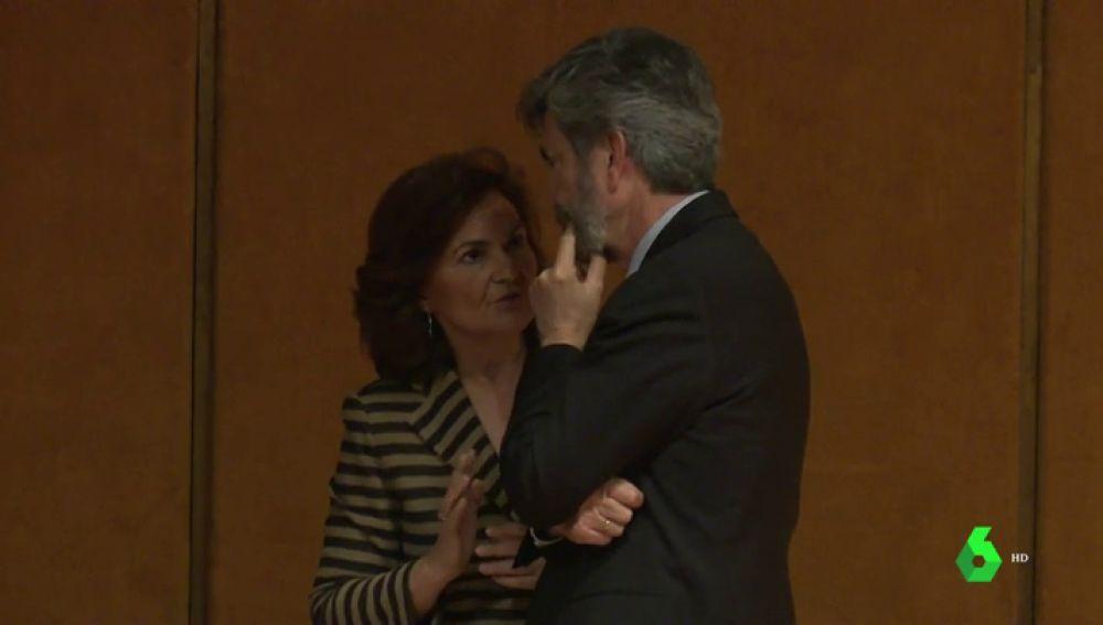Carlos Lesmes y Carmen Calvo