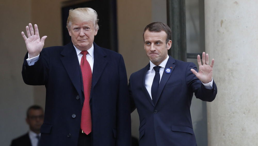 Donald Trump y Macron antes de su reunión en el Elíseo