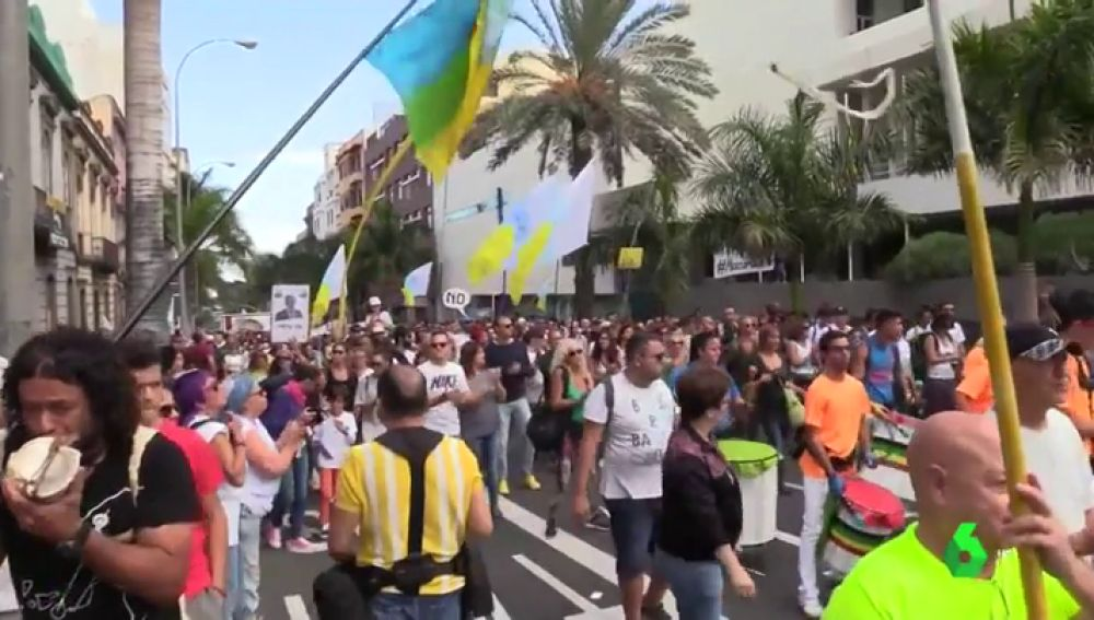 Manifestación en Las Palmas contra la ampliación del puerto
