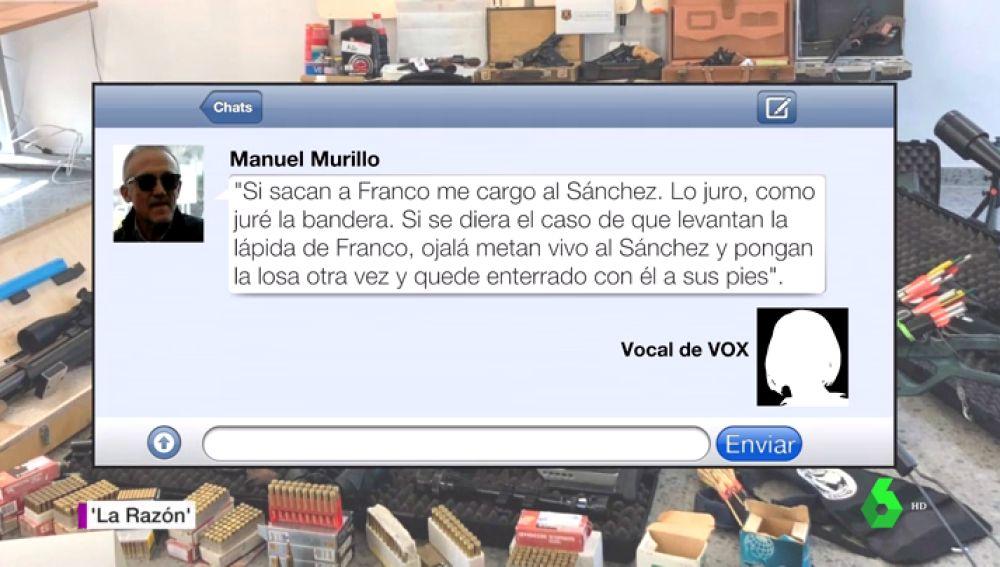 """Nuevos mensajes del francotirador que quería matar a Sánchez: """"Si levantan la lápida de Franco ojalá metan vivo a Sánchez"""""""