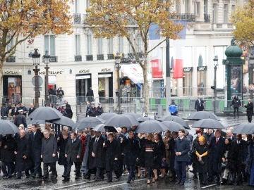 Los líderes internacionales en la conmemoración del armisticio que puso fin a la I Guerra Mundial