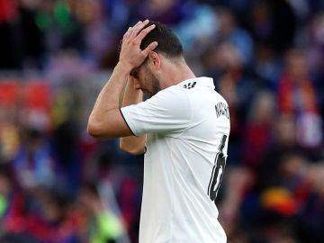Nacho, durante un partido del Real Madrid