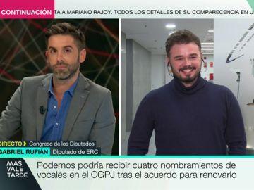 """El dardo de Rufián a Podemos: """"Ya no es la formación que iba a asaltar los cielos, ahora es un partido institucionalista"""""""