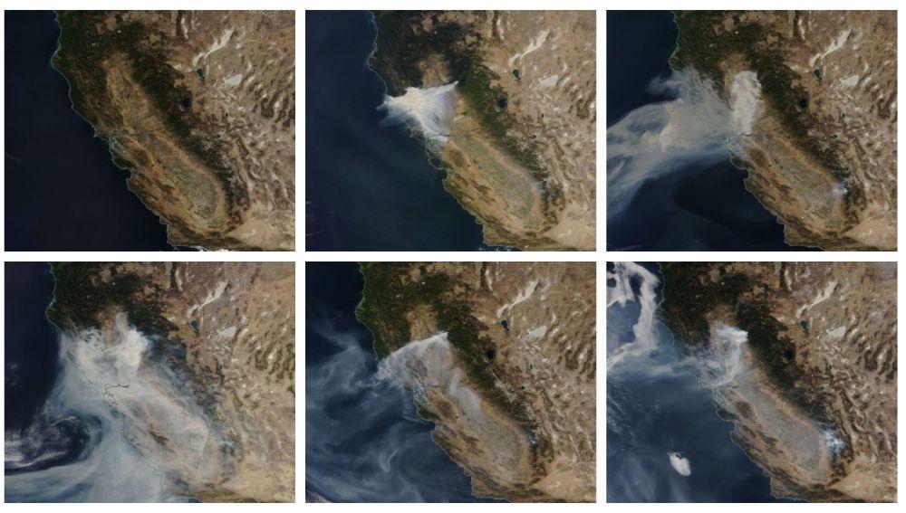 El incendio de California, en seis días a vista de satélite