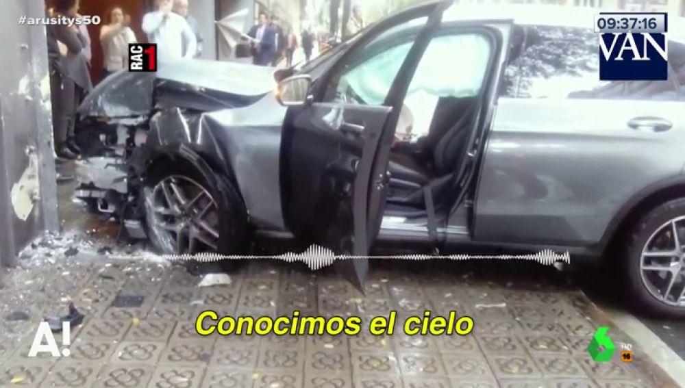 Estado del coche siniestrado tras un accidente en Barcelona