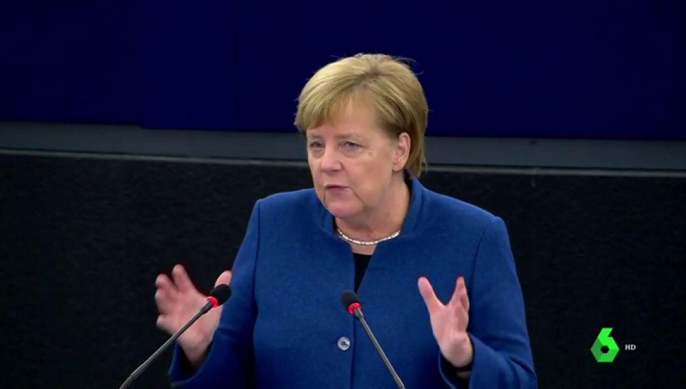 Contundente mensaje de Merkel en el Parlamento europeo