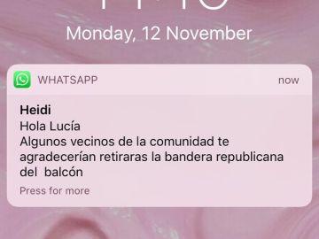 El mensaje de Whatsapp que recibió la joven