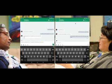 Dos participantes en el estudio chatean en tiempo real gracias a unos implantes cerebrales