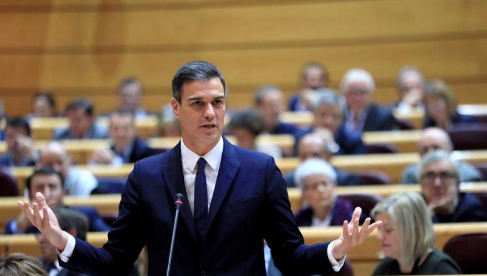 El presidente del Gobierno, Pedro Sánchez, en el Senado