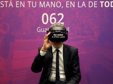 El ministro del Interior, Fernando Grande-Marlaska,durante la presentación de la campaña de realidad virtual 'No mires a otro lado'