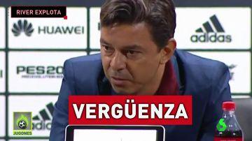 """Marcelo Gallardo, entrenador de River: """"Mi indignación es la misma que sienten los genuinos hinchas de River"""""""