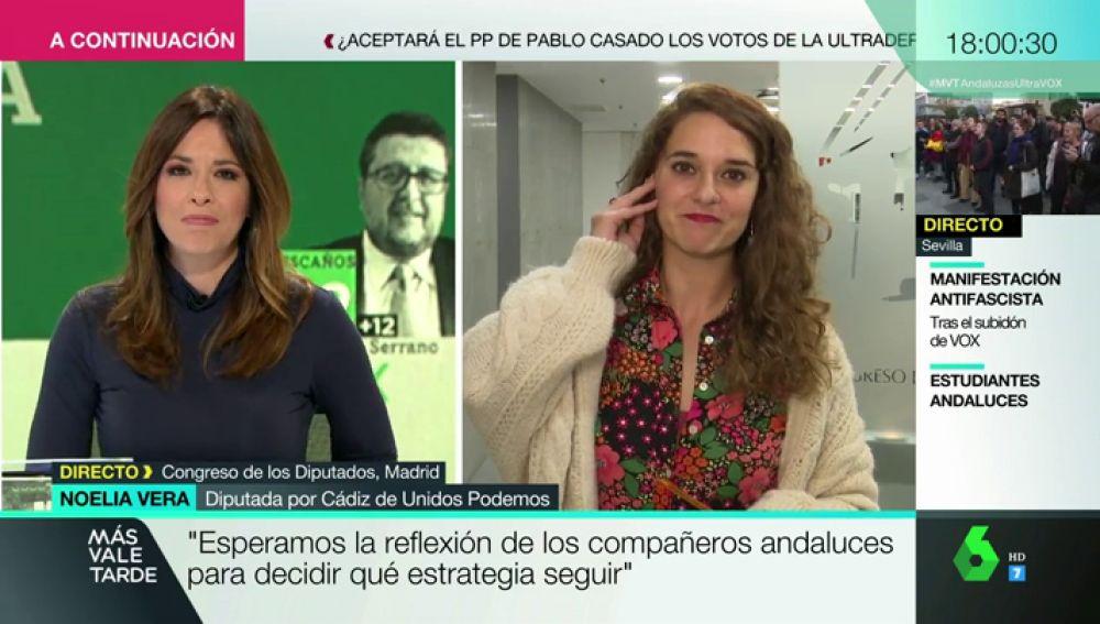 """Noelia Vera (Podemos), sobre el auge de Vox: """"La extrema derecha ya estaba aquí, pero camuflada en otros partidos que se dicen de centro"""""""