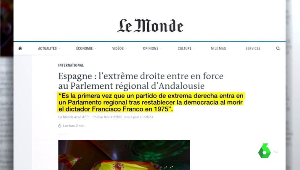 Noticia de Le Monde sobre las elecciones andaluzas