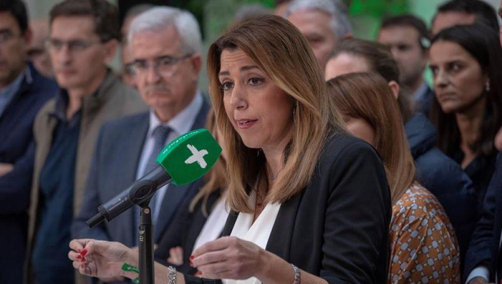 Susana Díaz en una rueda de prensa