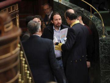 El líder de la formación morada Podemos, Pablo Iglesias