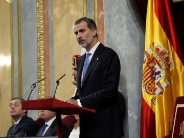 El rey Felipe VI durante su intervención en el Congreso en el 40 aniversario de la Constitución