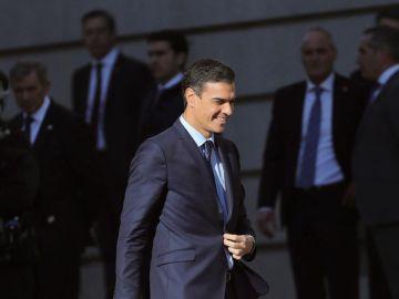 El presidente del Gobierno, Pedro Sánchez, a su llegada al Congreso
