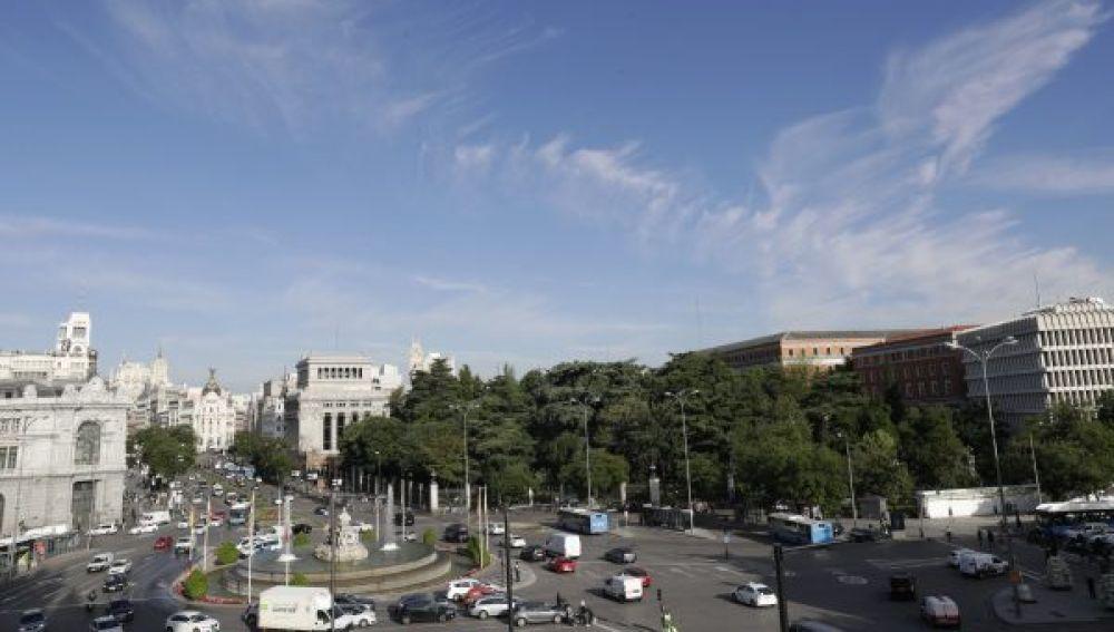 Imagen del tráfico en Cibeles, Madrid
