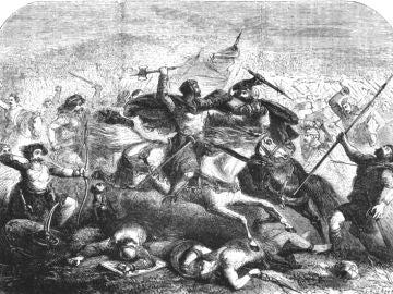 El rey Arturo batalla, en una representación del siglo XIX