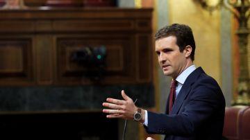 Pablo Casado durante su intervención tras la comparecencia de Pedro Sánchez sobre la situación en Cataluña