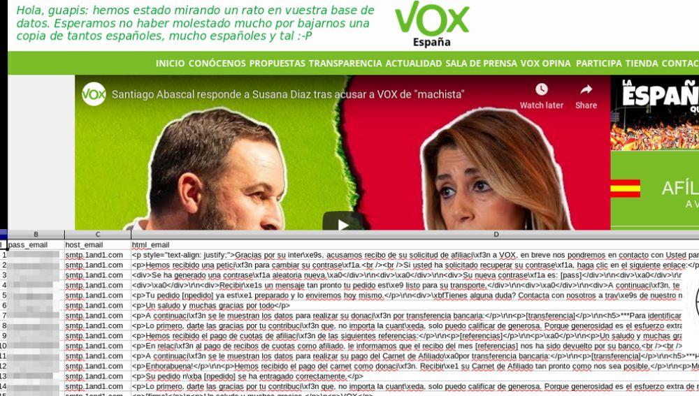 Imagen del tuit de La Nueve informando del hackeo a la web de Vox