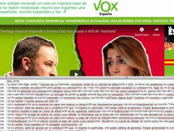 Hackeo a la web de Vox