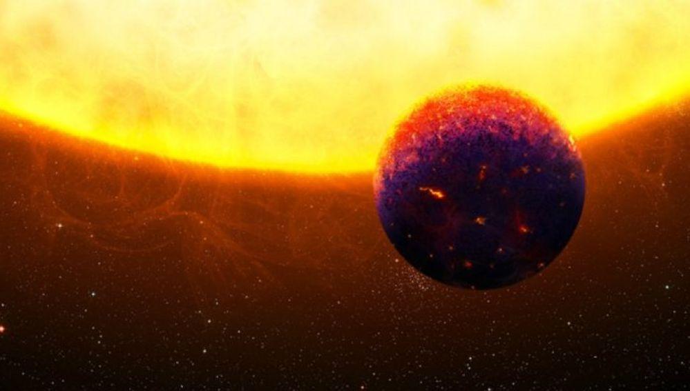Representación del exoplaneta formado por rubís y zafiros