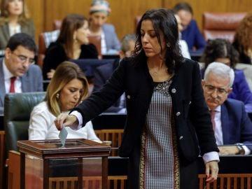 La diputada almeriense de Ciudadanos Marta Bosquet, que ha sido elegida presidenta de la Cámara autonómica