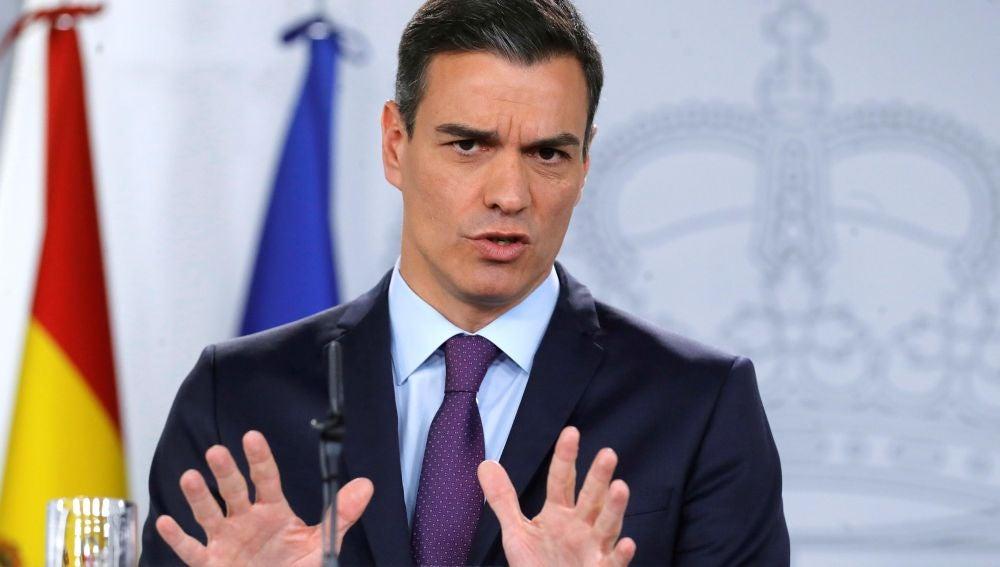 El presidente del Gobierno, Pedro Sánchez, durante una comparecencia